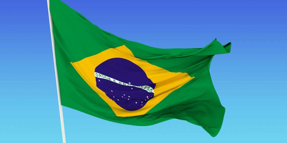 A flag of Brazil in the wind